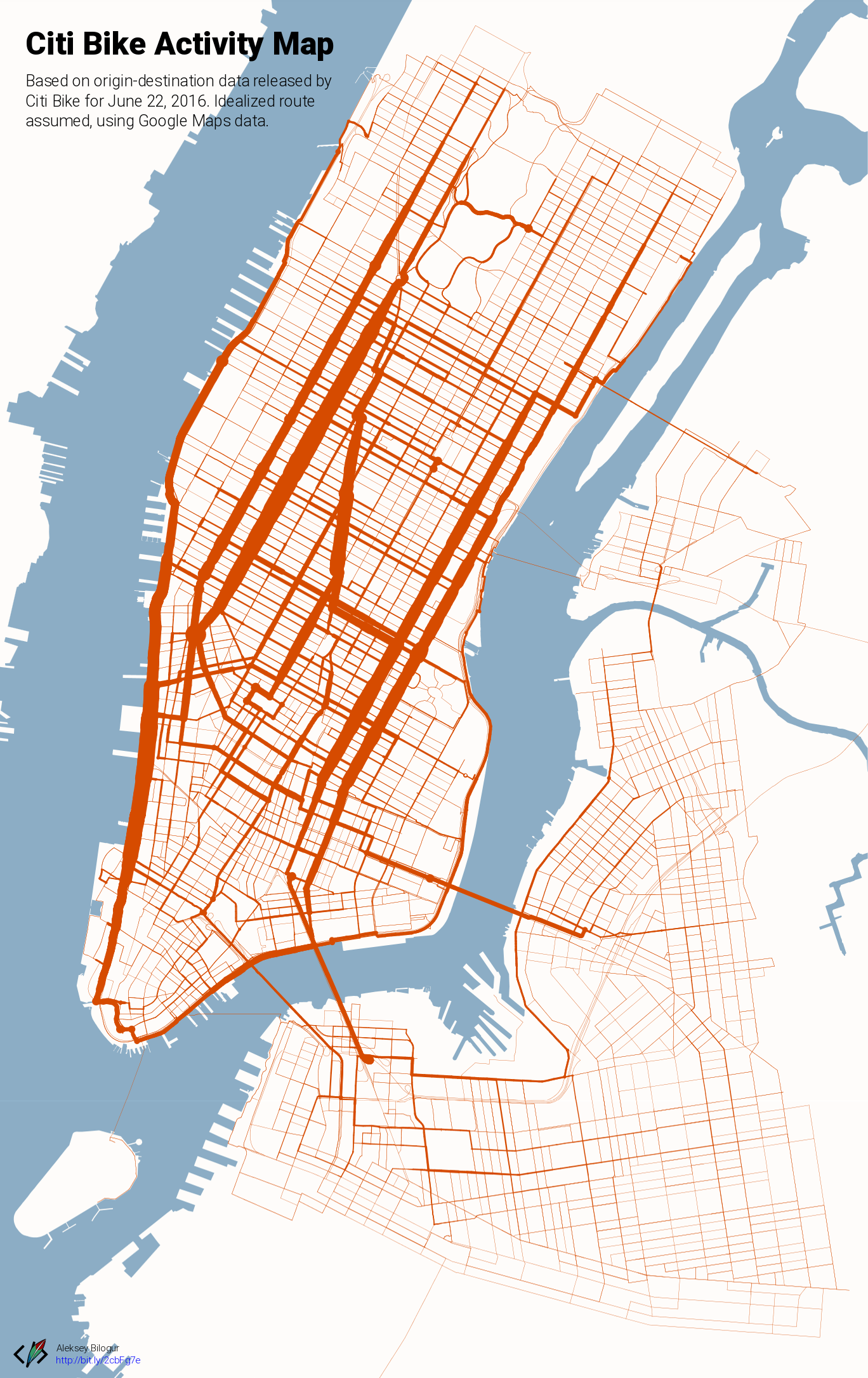 Citi Bike activity map [OC] : nyc Citibike Maps on nyc school district map, bronx zip code map, proof of success map, hubway map, nyc bus map, nyc train map,