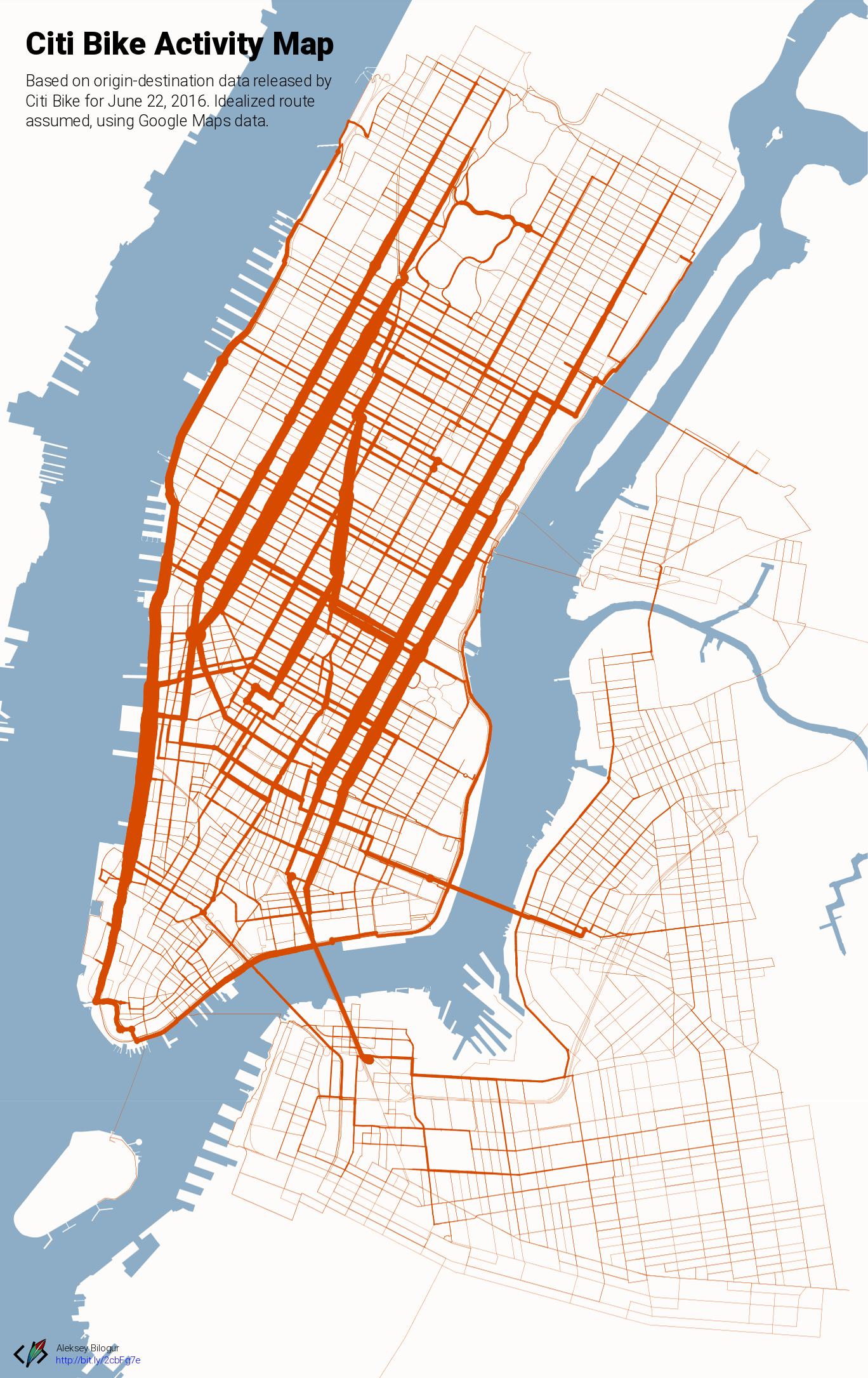 Citi Bike activity map [OC] : nyc Citibank Map on