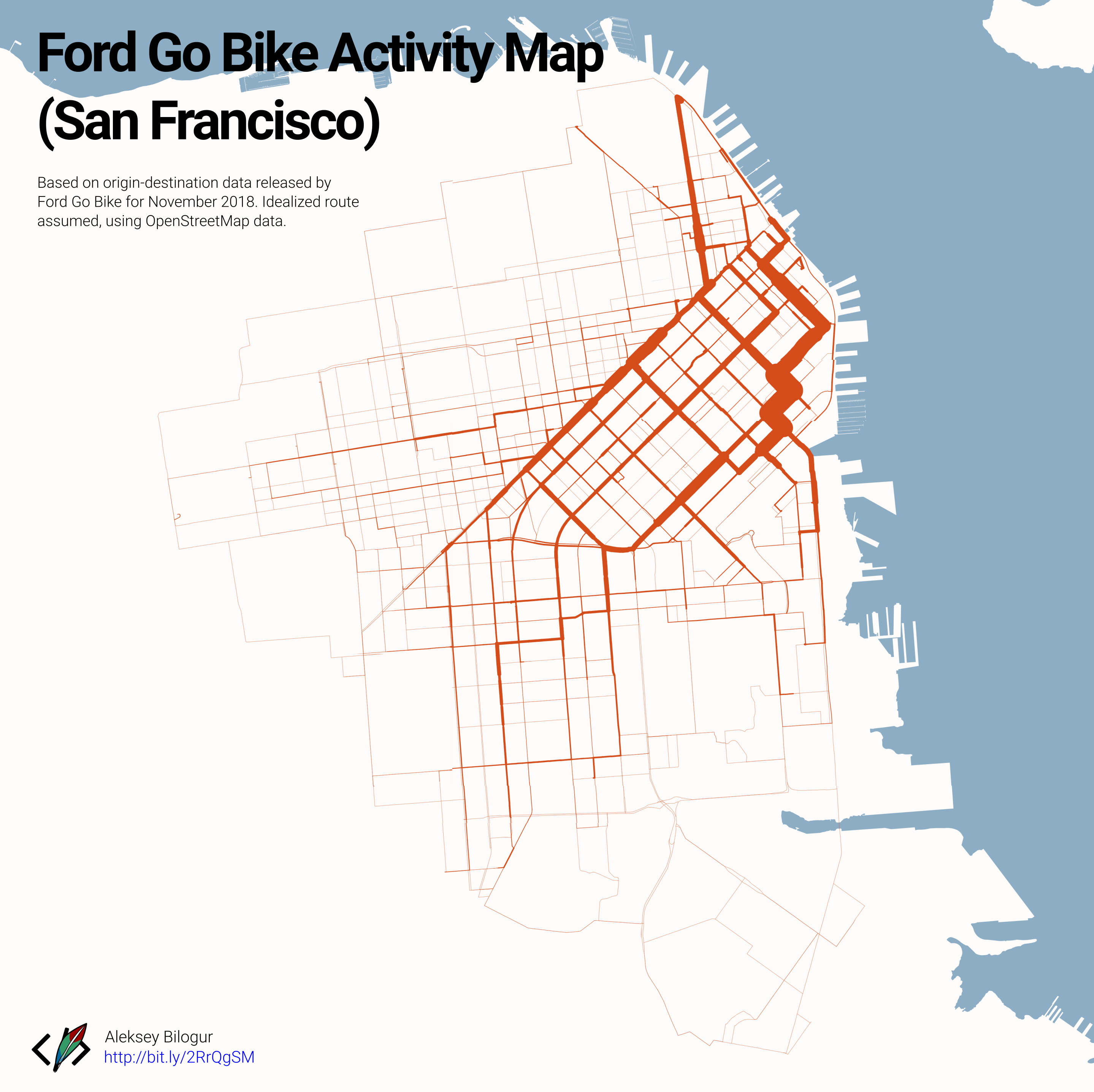 San Francisco Ford Go Bike activity map [OC] : sanfrancisco